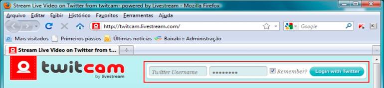 Acessar para Iniciar uma transmisao com Twitcam