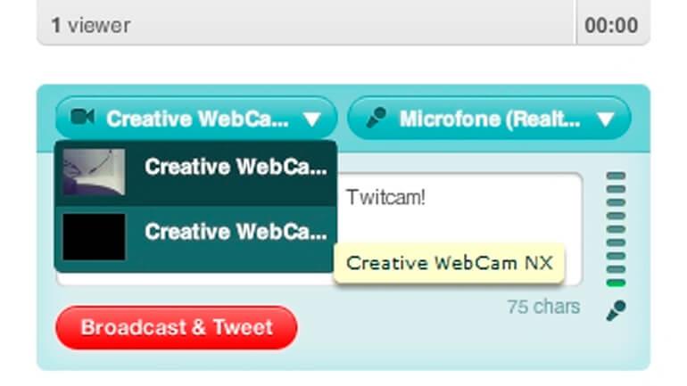 Defina os dispositivos no Twitcam