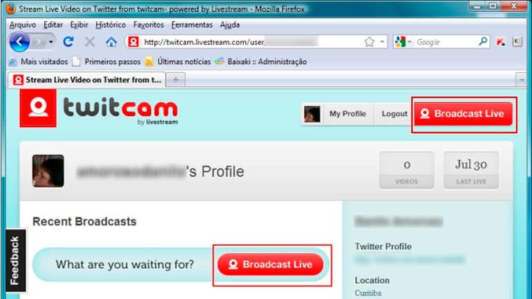 Inicia transmissao com botao Broadcast live