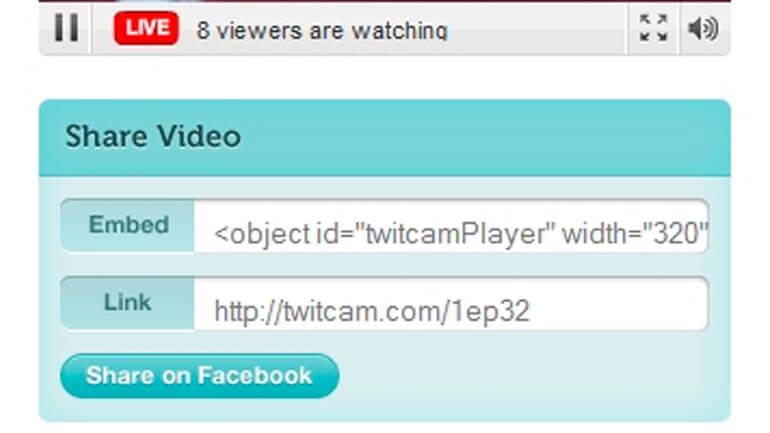 Possibilidades de compartilhamento no Twitcam.