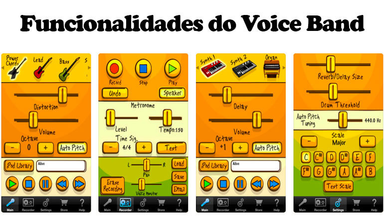 Funcionalidades do Voice Band